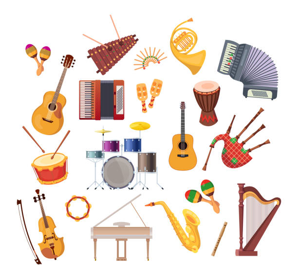 set of various musical instruments for festivals, concerts, holidays. - instrument perkusyjny stock illustrations