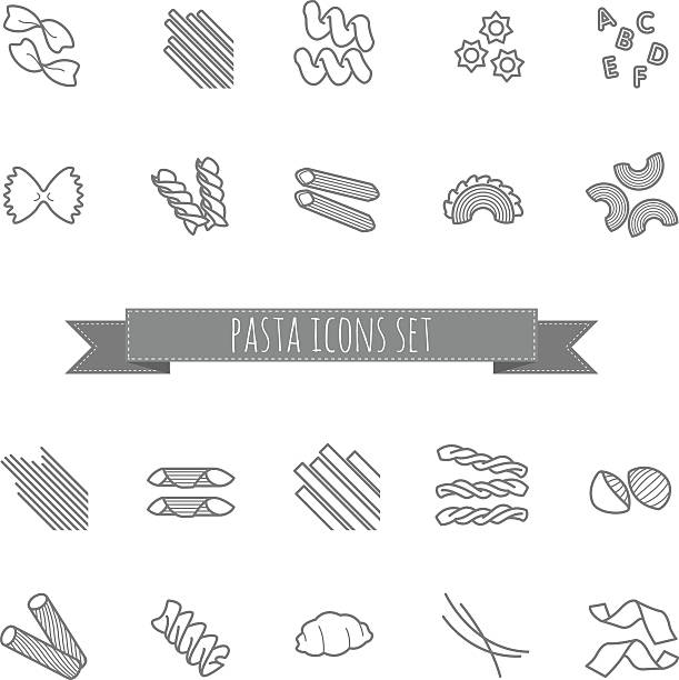 set of various pasta shapes set of various pasta shapes for your design tortellini stock illustrations