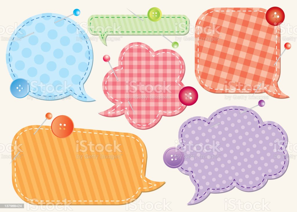 Set of various patterned and colored speech bubbles royalty-free stock vector art