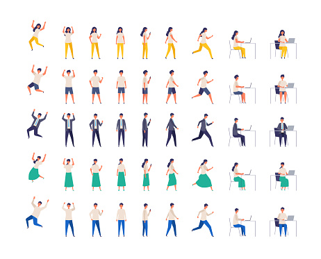Set of Various people character in different poses. Vector illustration. full length.