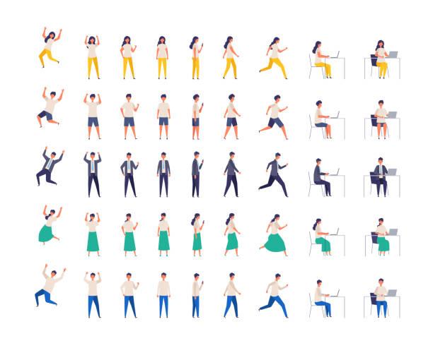 bildbanksillustrationer, clip art samt tecknat material och ikoner med uppsättning av olika människor karaktär i olika poser. vektorillustration. hela längden. - helkroppsbild