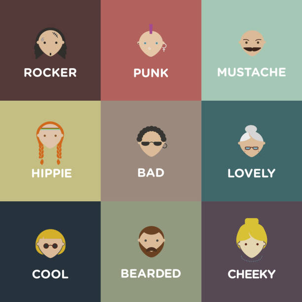 set of various people icons. different faces of people - old man in rocking chair drawings stock illustrations, clip art, cartoons, & icons