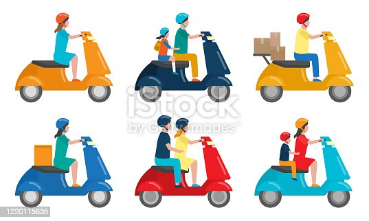 Collection set of different people on two-wheeled scooters serving for movement and delivery. Man and woman riding the scooter. Isolated vector icon illustration on white background in cartoon style