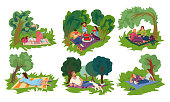 Collection set of various people resting in the green city park. Isolated icons set illustration on a white background in cartoon style.