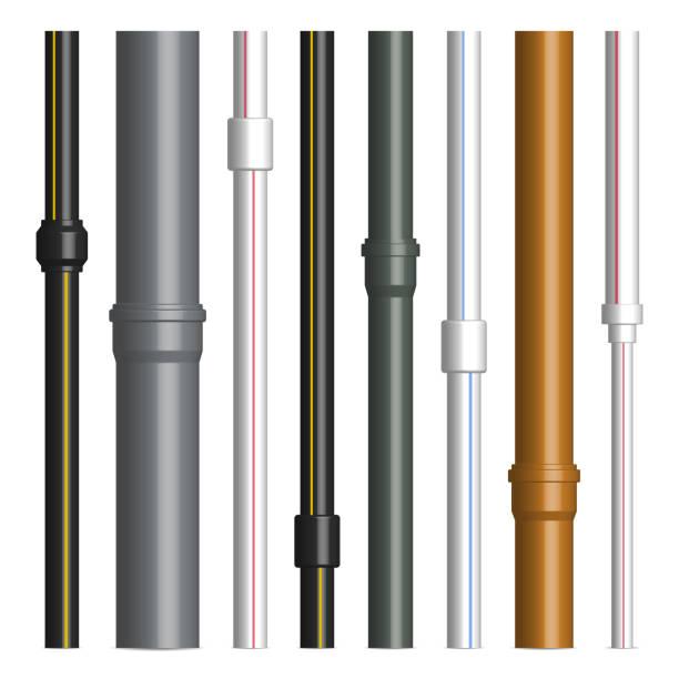 bildbanksillustrationer, clip art samt tecknat material och ikoner med uppsättning av olika plaströr med kopplingar, vektor illustration. - water pipes