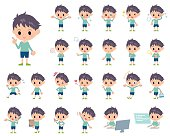 Set of various poses of Blue clothing boy