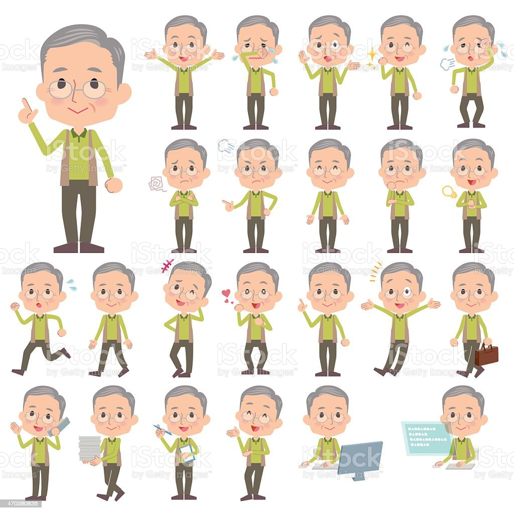 Set of various poses of Green vest grandfather vector art illustration