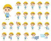 Set of various poses of Nursery school boy