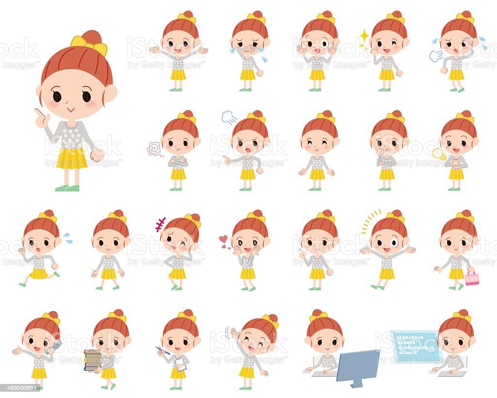 Set of various poses of Polka dot clothes ribbon girl vector art illustration