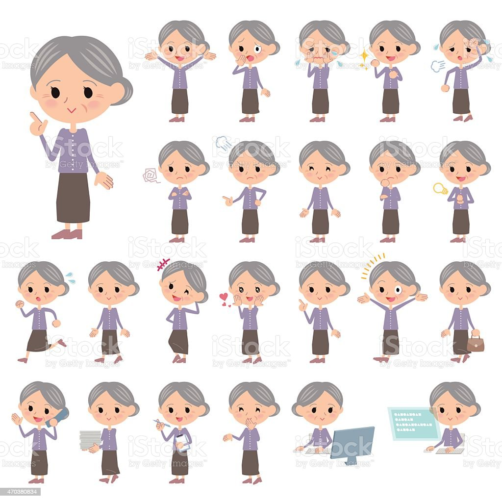 Set of various poses of Purple clothes grandmother vector art illustration