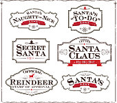 Vector illustration of a set of 'Santa' themed labels on white background. Dark brown frame and red accents. Download includes Illustrator 8 eps, high resolution jpg and png file.