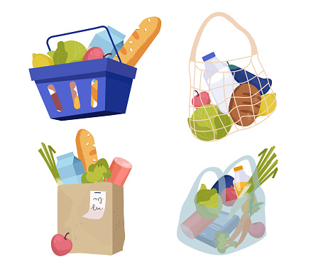 Set of various shopping bags filled with goods. Food basket, paper and plastic packages, string bag. Vector illustration