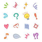 A set of various symbols that express emotions.