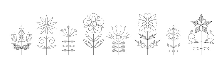 Set of various symmetric flower design elements. Monochrome line art vector illustration. Folk style. Suitable for textile, wrapping paper and different types of design.