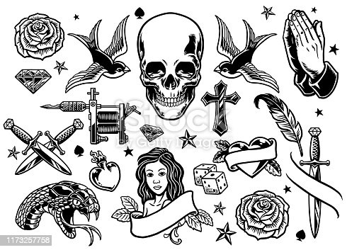 vector of set of various tattoo flash