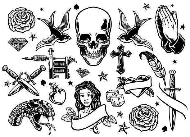 ilustrações de stock, clip art, desenhos animados e ícones de set of various tattoo flash - tatuagem