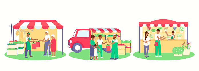 A set of various trade tents, a stall by car, a folding tent, a stationary flower stall