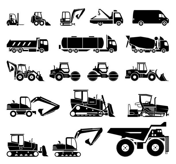 bildbanksillustrationer, clip art samt tecknat material och ikoner med uppsättning av olika maskiner för transport och konstruktion. tung utrustning. - traktor pulling