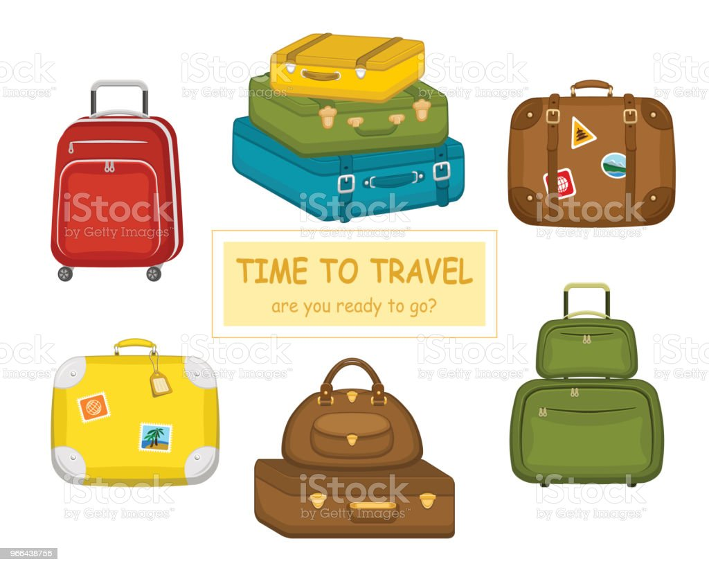 set of various travel bags suitcases with stickers on isolated white
