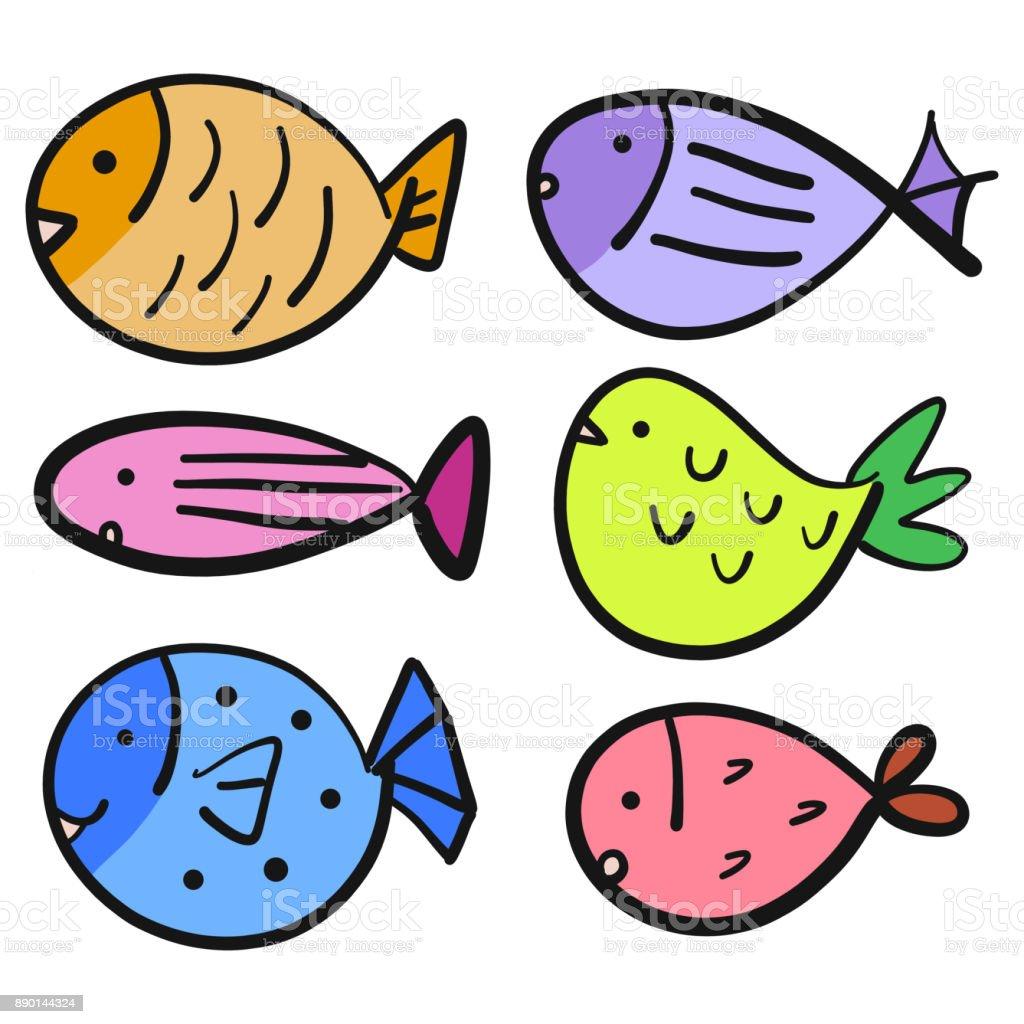 Set of various type colorful fish cartoon. Vector illustration. vector art illustration