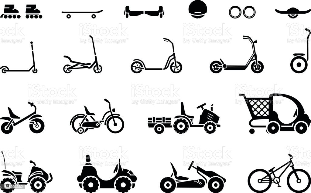Set of various types children's vehicles and means of transportation on wheels vector art illustration