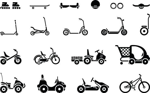 stockillustraties, clipart, cartoons en iconen met set van verschillende typen kinder voertuigen en vervoermiddelen op wielen - step