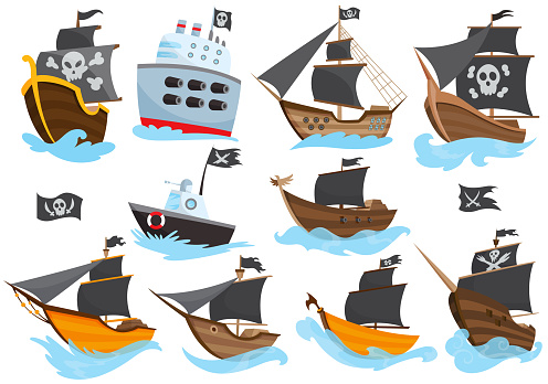 Set of various types stylized cartoon pirate ships illustration with black sails. Galleons with image Jolly Roger. Cute vector drawing. Collection of pirate ships sailing on water