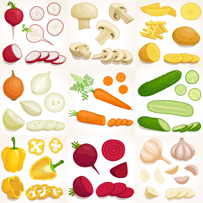 Set of various whole and sliced vegetables. Vector illustration.