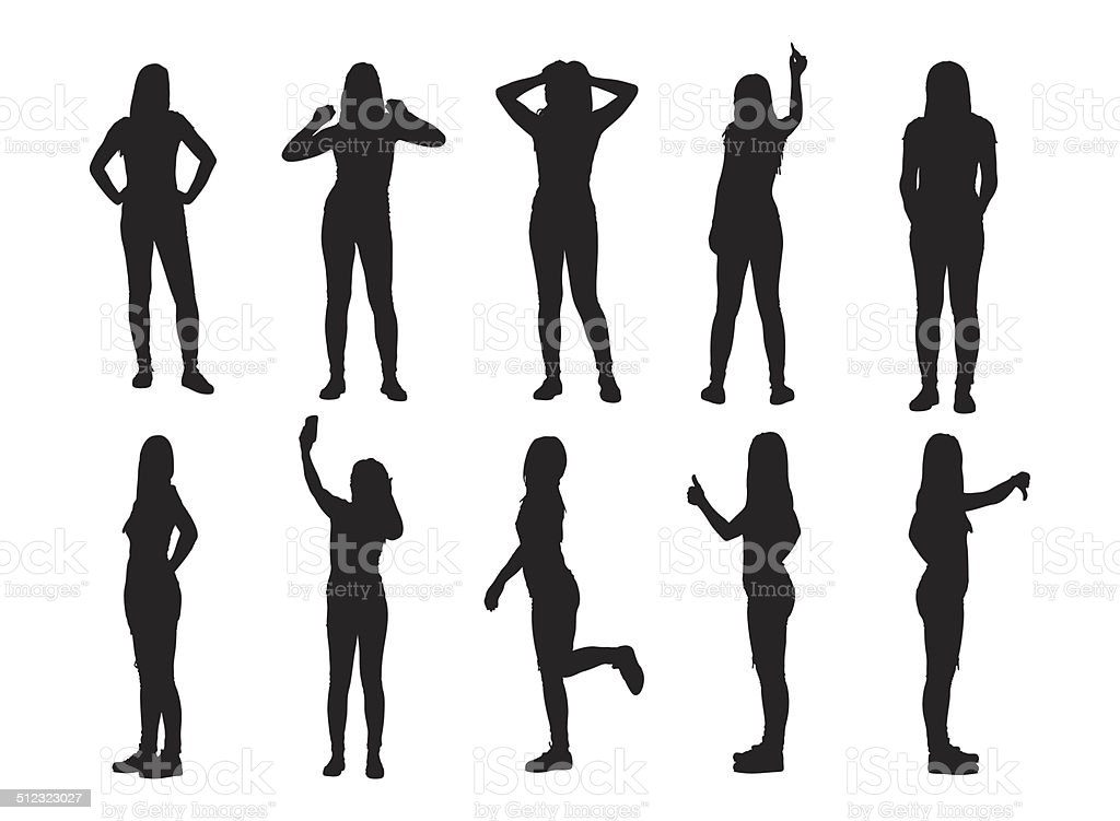 Set of various woman silhouettes vector art illustration