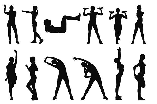 stockillustraties, clipart, cartoons en iconen met set of various woman sports silhouettes - rek