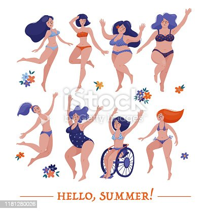 Set of various women, slim, chubby and plus size, dancing happily in bikini, swimsuits, body positivity and self acceptance concept, flat cartoon vector illustration isolated on white background