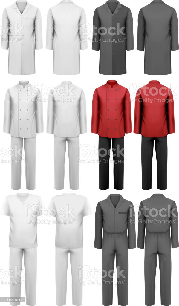Set of various work clothes. Vector illustration vector art illustration
