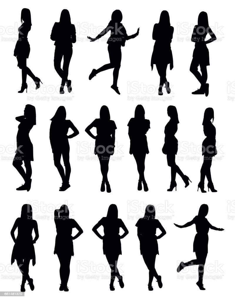 Set of various young fashion woman silhouettes in different clothes and poses vector art illustration