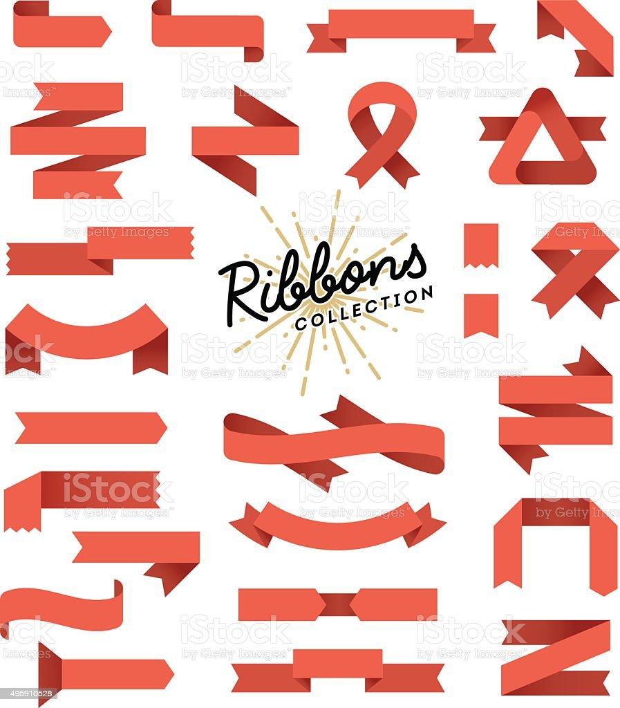Set of variously shaped ribbon banners, flat design vector art illustration