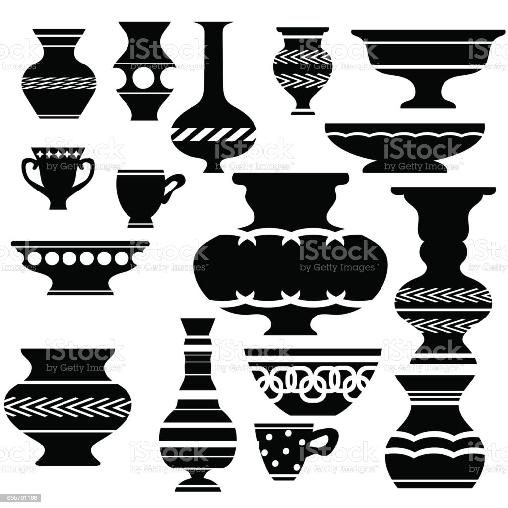 Set of Vases Silhouettes vector art illustration