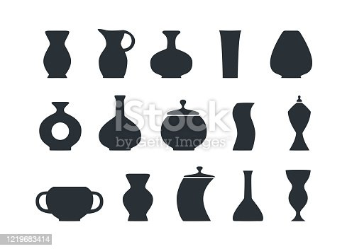 flat vector image on white background, set of jugs and vases icons