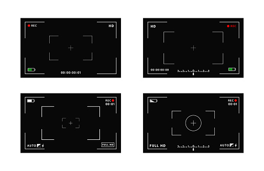 Set of VCR digital display interface camera viewfinder screens. Focusing screen in the center of the camera during recording. battery status, video quality, image stabilization icons
