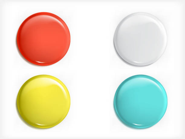 Set of vector 3D design elements, glossy icons, buttons, badge blue, red, yellow and white isolated vector art illustration