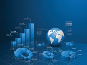 istock Set of vector 3d graph with infographic global template. 493081438