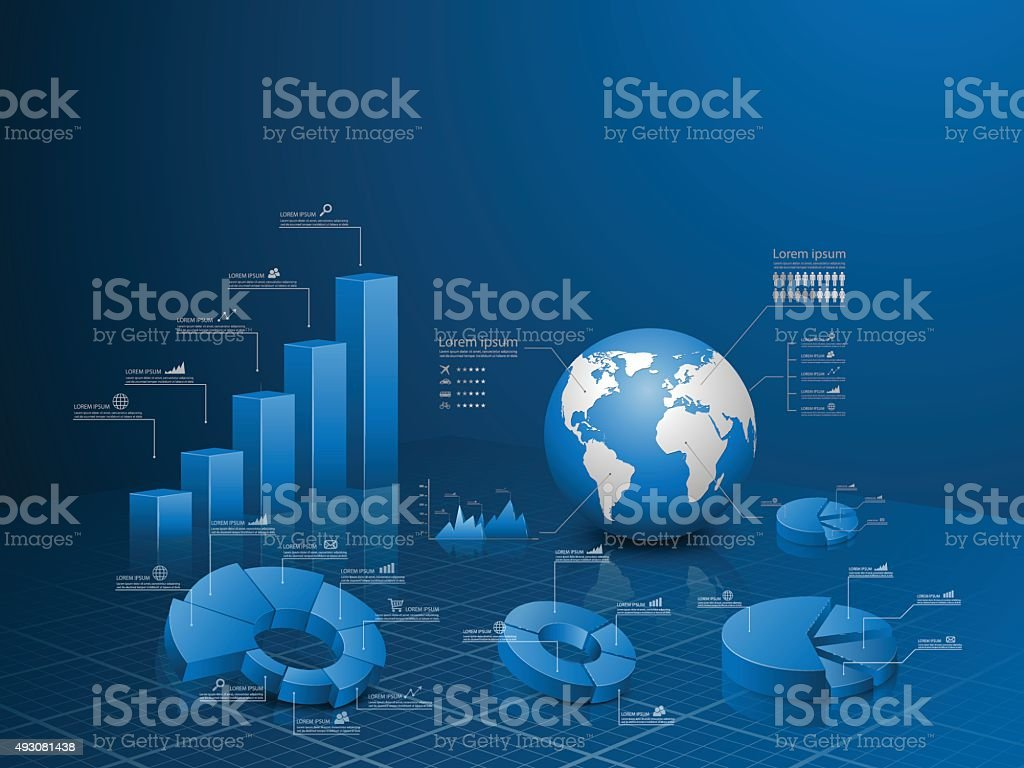 Set of vector 3d graph with infographic global template. vector art illustration