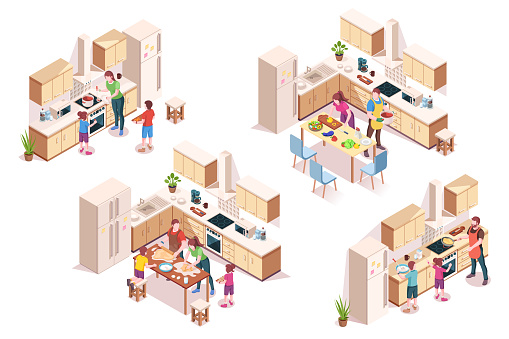 Set of vector 3d kitchen interiors with family cooking. Isometric design for cook room. House or home, building design element with fridge, oven, microwave. Kitchenware furniture, indoor architecture