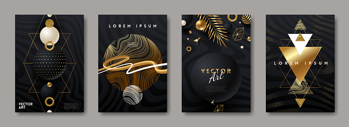 Set of vector abstract cover design with black and gold shapes. Abstract background for poster, greeting card, flyer, invitation, page.
