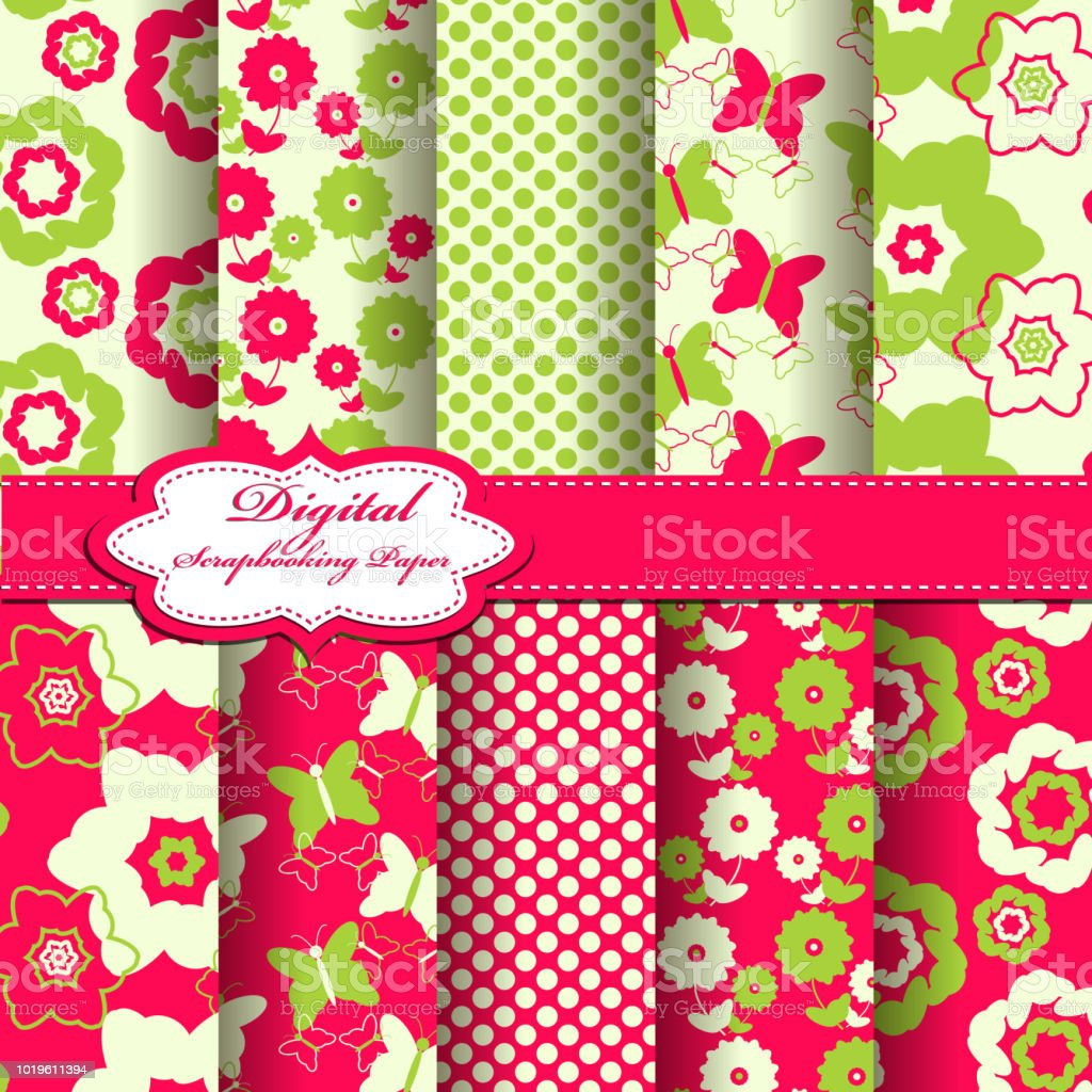 Set Of Vector Abstract Flower Pattern Paper For Scrapbook Stock