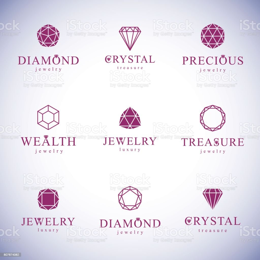 Set of vector abstract geometric shapes best for use as luxury logo. Brilliant jewelry sign. vector art illustration
