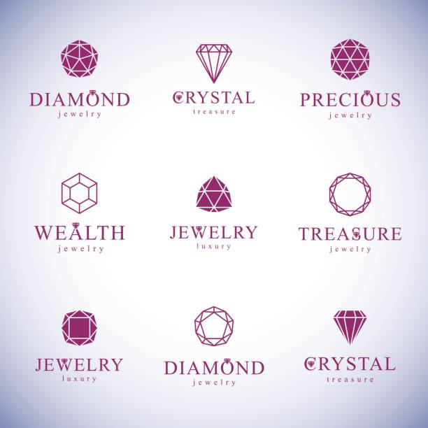 set of vector abstract geometric shapes best for use as luxury logo. brilliant jewelry sign. - gemstone stock illustrations, clip art, cartoons, & icons