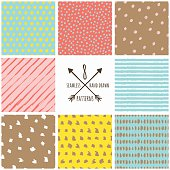 Set of vector abstract hand drawn seamless patterns