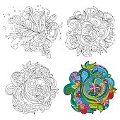 Set of vector abstract line art patterns for backgrounds or for coloring book with an example of coloring. Floral design in zentangle style with abstract elements. Can be used as an element in the design of textiles, printed materials and coloring antistress book. Illustration isolated on white.