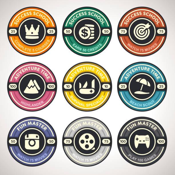 Set of Vector Achievement Badges. Flat Labels Collection vector art illustration