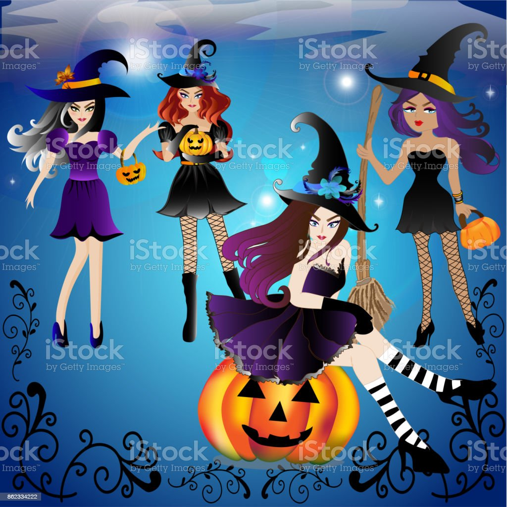Set Of Vector And Illustration Of Halloween Party Girl Group Wearing ...