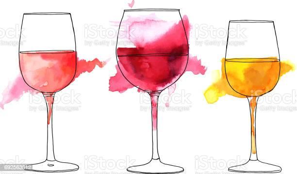 Set of vector and watercolor drawings of wine glasses vector id692563812?b=1&k=6&m=692563812&s=612x612&h=cri9spqcu1kchlf4nl7eu2s2sbuqgmldblentxybcdc=